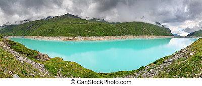 Turquoise panoramic mountain lake