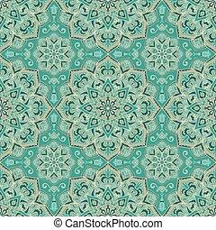 turquoise, pattern., orné