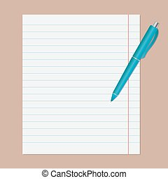 Turquoise pen on notebook sheet in line.