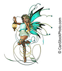 Turquoise Pixie - A little Elf with Wings, Wreath and...