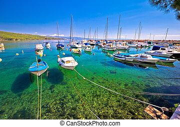 turquoise, port, volosko, village, petit, vue