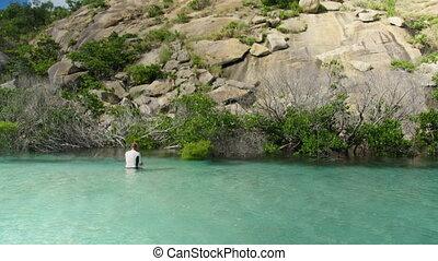 turquoise, profond, hanche, homme nager eau, eau