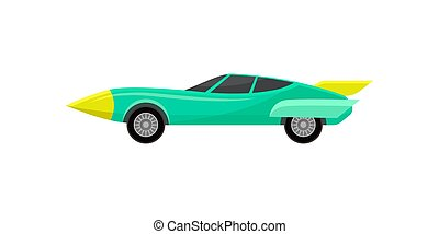 Turquoise racing automobile. Vintage sport car with spoiler. Fast road vehicle. Flat vector design