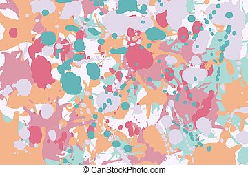 Turquoise red pink orange ink splashes background