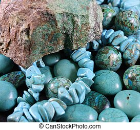 Turquoise beads and turquoise chip with natural turquoise mother stone
