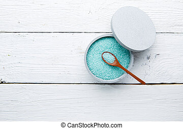 Turquoise salt on white table