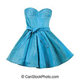 turquoise, sans bretelles, evase, cuir, robe, belted