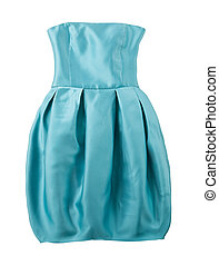 Turquoise satin puffed strapless dress isolated on white...