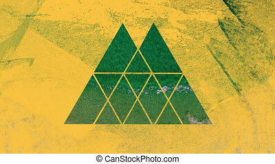 Turquoise sea through yellow triangular shape foreground - ...