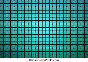 Turquoise shades abstract rounded mosaic background over black