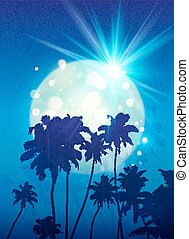 Turquoise shining moon with black palm trees silhouettes on blue background