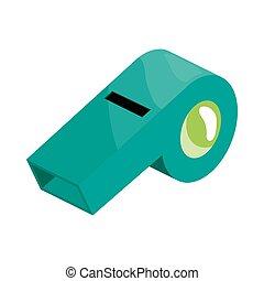 Turquoise sport whistle icon, cartoon style