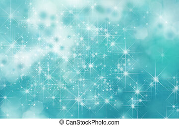 A turquoise star filled twinkly sky or space background with misty clouds and bokeh.