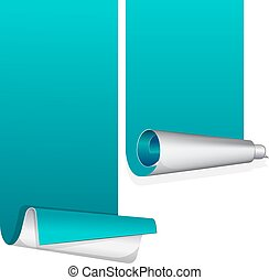 Turquoise sticker with curled up edge. Vector illustration