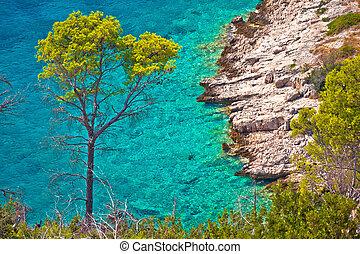 Turquoise stone beach of Brac island aerial view, Dalmatia,...