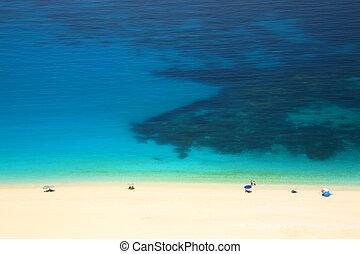 turquoise tenger, white homok