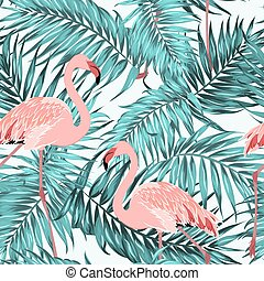 Turquoise tropical jungle leaves pink flamingos