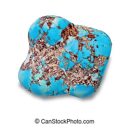 Turquoise - Tumbling turquoise on a white background
