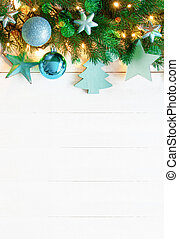 Turquoise Vertical Christmas Banner, Copy Space, Wooden...