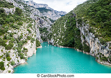 Turquoise water in Canyon Verdon Gorge, France, Provence