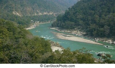 Turquoise water of the holy river Ganges - The turquoise...