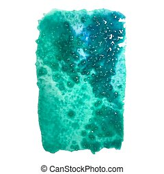 Turquoise watercolor stain - Vector watercolor spot...
