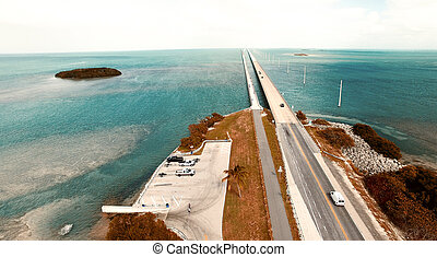 Turquoise waters and bridge on the Overseas Highway, aerial view of Florida Keys