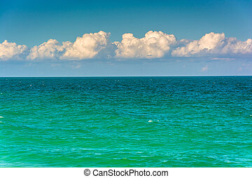 Turquoise waters of the Atlantic Ocean in Miami Beach, Florida.