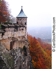 Turret in the K?nigstein military fortress in autumn