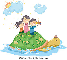 Turtle Adventure - Illustration of Kids Riding on a Giant...