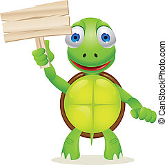 Turtle and blank signboard