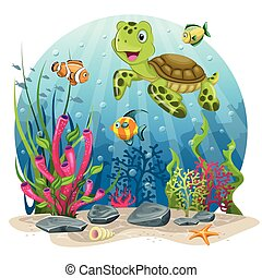 Turtle and fisch in the sea