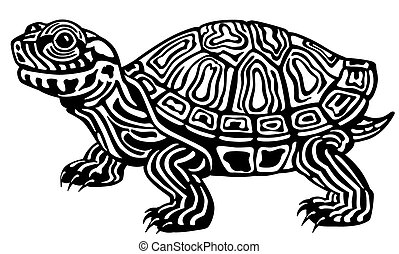 turtle black and white - cartoon red eared slider turtle....