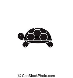Turtle black vector concept icon. Turtle flat illustration, sign