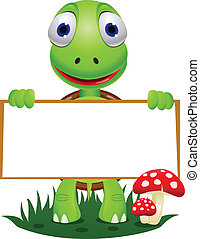 turtle cartoon and blank sign
