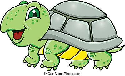 Turtle cartoon - Funny green turtle cartoon