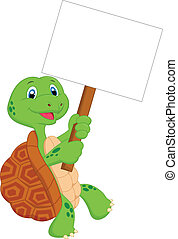 Turtle cartoon holding blank sign