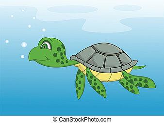 Turtle cartoon swimming