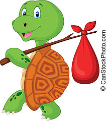 Turtle cartoon traveling - Vector illustration of Turtle...