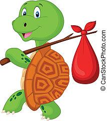 Turtle cartoon traveling - Vector illustration of Turtle...