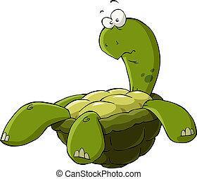 Cartoon turtle on the back vector illustration