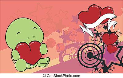 turtle cartoon valentine background