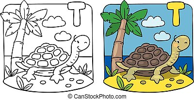Turtle coloring book. Alphabet T