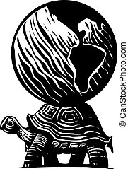 Turtle Earth - Woodcut style myth image of a turtle carrying...