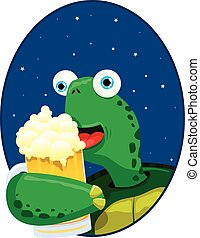 Turtle Enjoying Beer