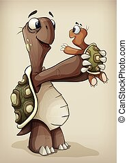 Turtle family illustration - Turtle dad holding his son...