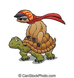 turtle, faultier