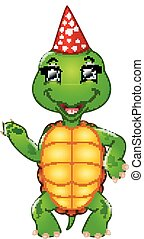 turtle, feiern, geburstag, karikatur