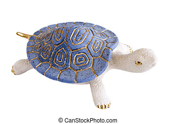 Turtle Figurine Against White