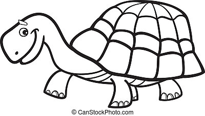 Turtle for coloring book - Illustration of cartoon turtle...